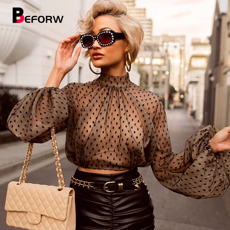 BEFORW Women Sexy Perspective Mesh   Shirt     Blouses   Clothes Fashion Polka Dot Long Sleeve   Blouse   Crop Top Gothic   Shirts   Blusas