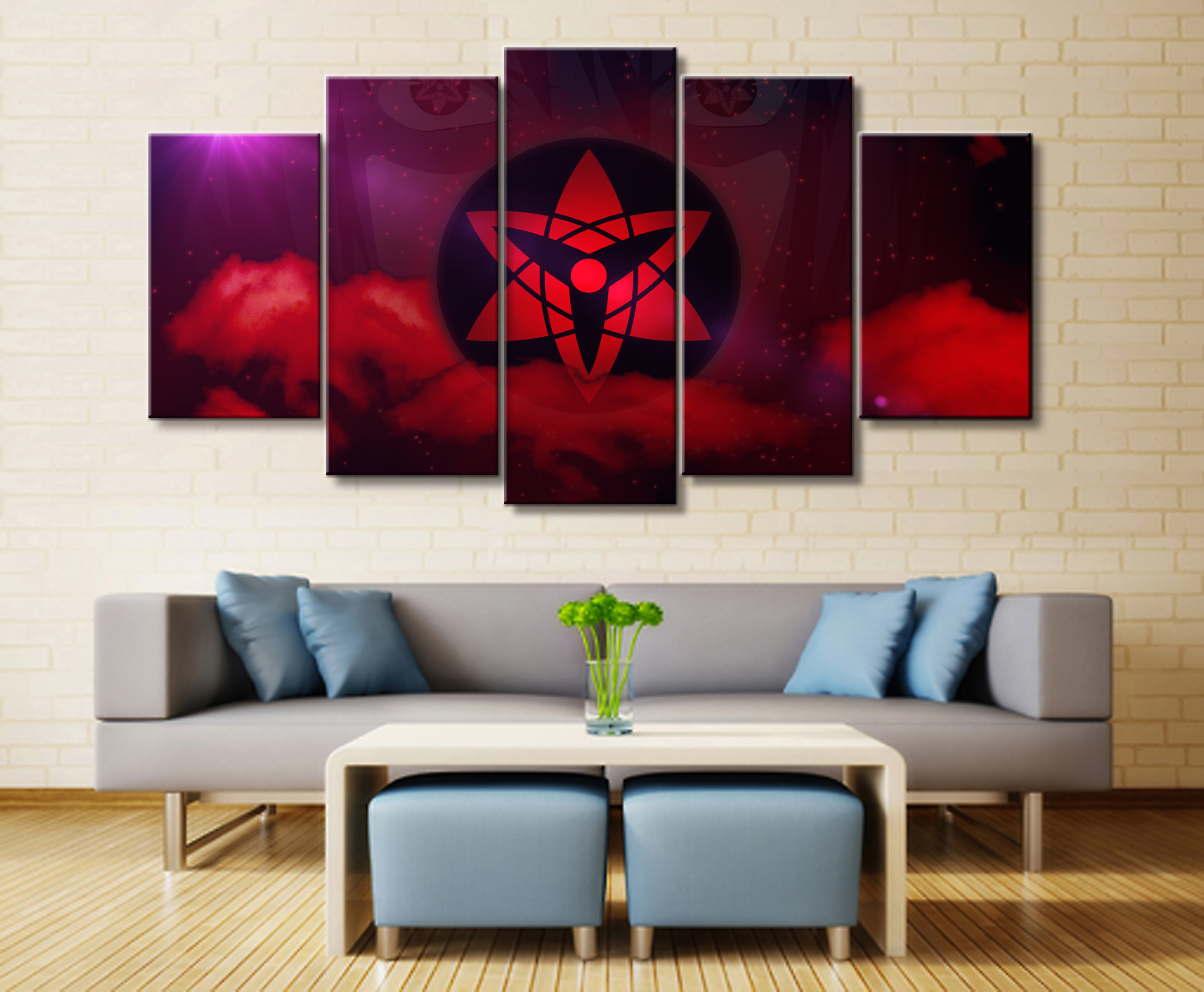 Wall Art Poster Painting Modular Pictures For Living Room Decorative Pictures Canvas Printed 5 Panel Cartoon Naruto Sasuke in Painting Calligraphy from Home Garden