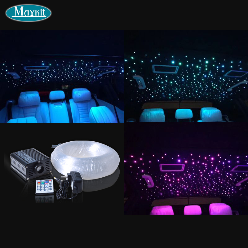 Maykit Business Automobile Fiber Optics Starry Ceiling On Cars Or Vans Roof With 200 Point 0.75mm Optical Fiber Rgbw Led Project цена и фото