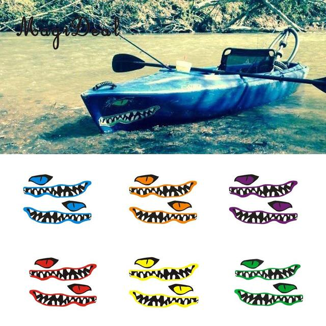 Magideal new 1 pair river monster moutheye vinyl decal stickers for kayak canoe fishing boat car