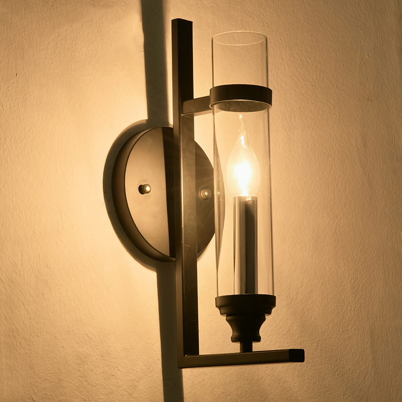 ФОТО Chinese Glass Vintage Industrial Wall Lamp Loft Hall Bedside Light Cafe Store