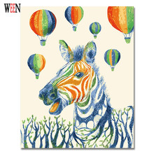 Colorful Zebra Painting By Numbers DIY Animal Digital Wall Canvas Art Picture air balloon Coloring by numbers Artwork Gift