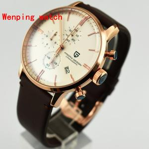 Image 2 - Top Fashion Design Pagani 43mm White Dial rose gold case Chronograph Japanese Quartz Mens Classical Simplicity watch gift