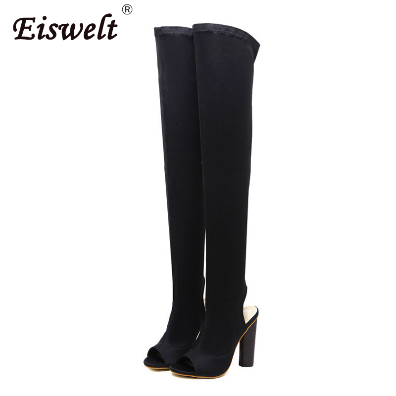 EISWELT Women Thigh High Boots High Heels Fashion Open Toe Over The Knee Boots Women Summer Autumn Shoes Long Boots#ZQS163 cree xml t6 led flashlight zoomable defense led lamp 3800lm waterproof 5 mode led torch 18650 rechargeable battery and charger