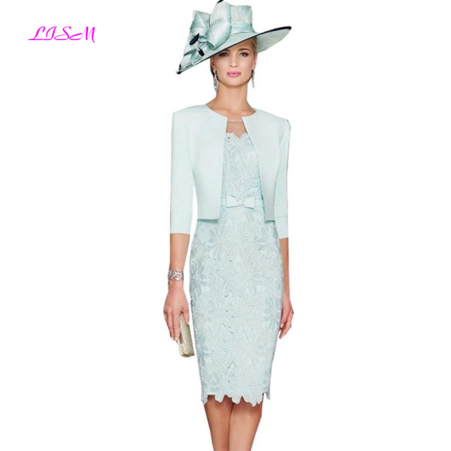 Mint Green Knee Length Mother Dresses with Jacket Lace Appliques Mother of the Bride Dress Elegant Evening Formal Gowns 1