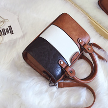 Oil Wax PU Leather Patchwork Bag