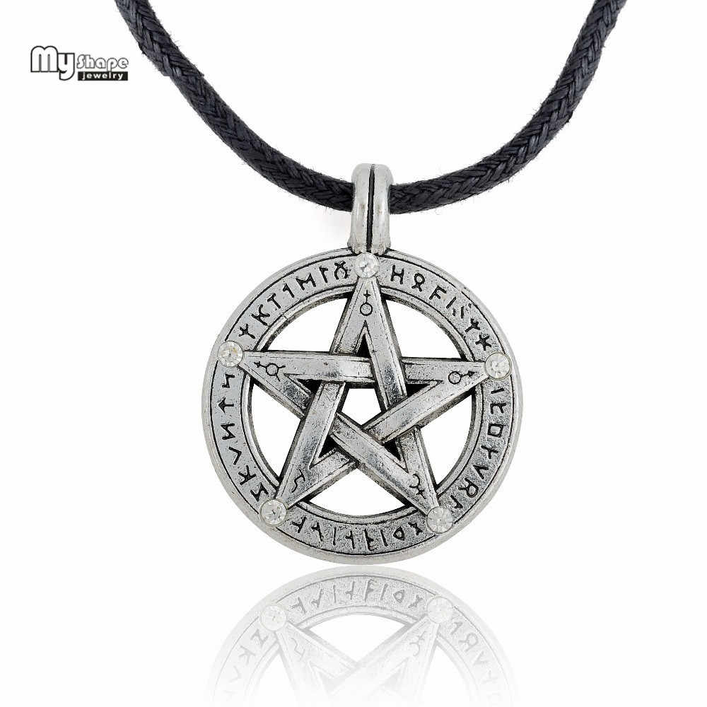 My Shape Supernatural Pentacle Hebrew Charm Pentagram Pendant Statement Necklace Men Star Amulet Chain Talisman Necklaces