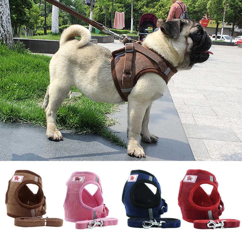 Harness Anjing dengan Tali Anjing Kerah Dapat Disesuaikan Rompi Berjalan Lembut Bernapas Kerah Hewan Peliharaan Aksesoris untuk Kecil Medidum Besar Hewan Peliharaan