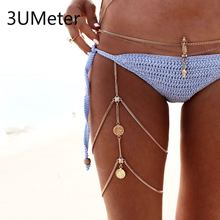 3UMeter Coin Vintage Body Chain for Women Leg Thigh Chain Sexy Leg Chain Tassel Thigh chain Multilayer Gift Drop Shipping vintage engraved floral body chain