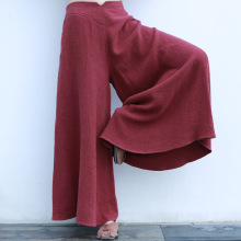 3 Colors Elegant Side Zipper Wide Leg Flare Women Long Cotton Linen Pants, Loose Casual Breathable Large Hem Ladies Trouser