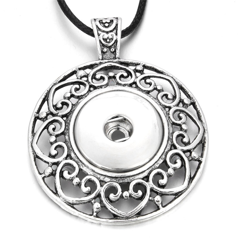 New Round Flower Snap Necklace 18mm Snap Button Pendant Necklace For Woman DIY Snap Jewelry ZG034