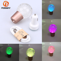 POSSBAY Universal Touch Activated Car Gear Stick Shift Lever Knob LED Multi color Gear Shift Knob Crystal Ball Shifter Lever