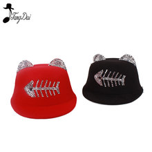 New Lovely Kids Boys Girls Cute Cat Ear Fedora Solid Bowler Fish Bone High Quality Spring