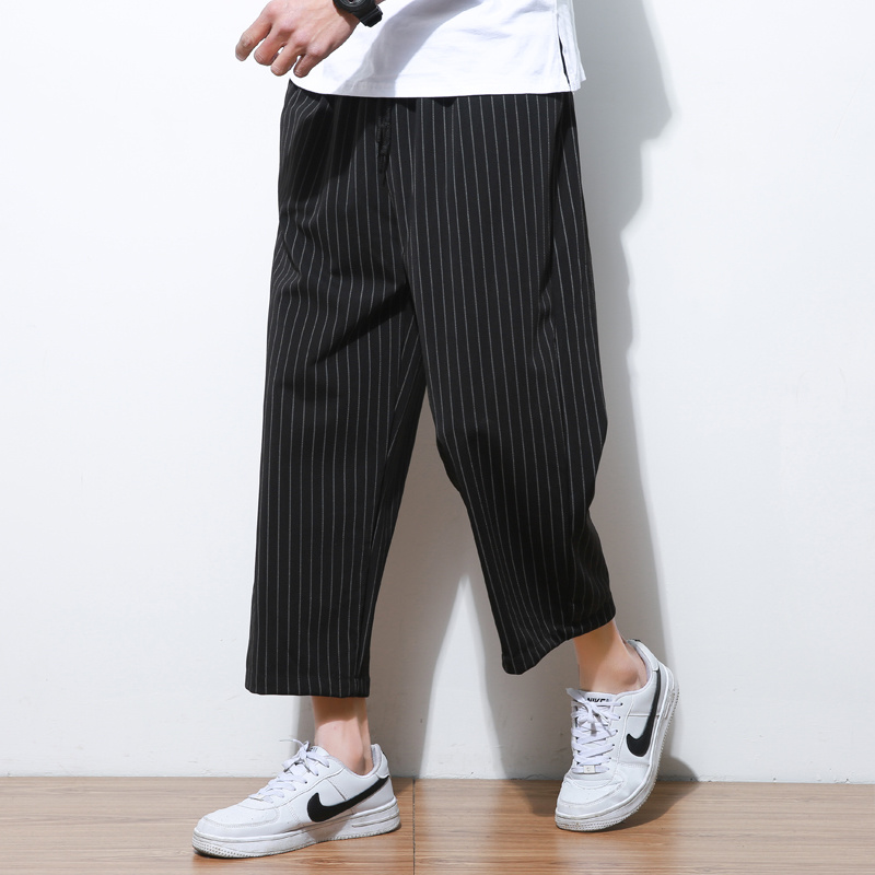 Летние для мужчин Горячая Хлопок широкие брюки японский стиль кимоно мужской моды повседневное в Вертикальную Полоску удобные