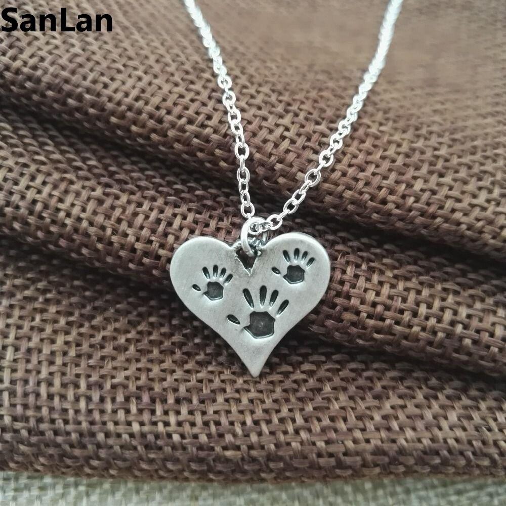 Three Hand Prints Necklace Heart Charm necklaces & pendants s