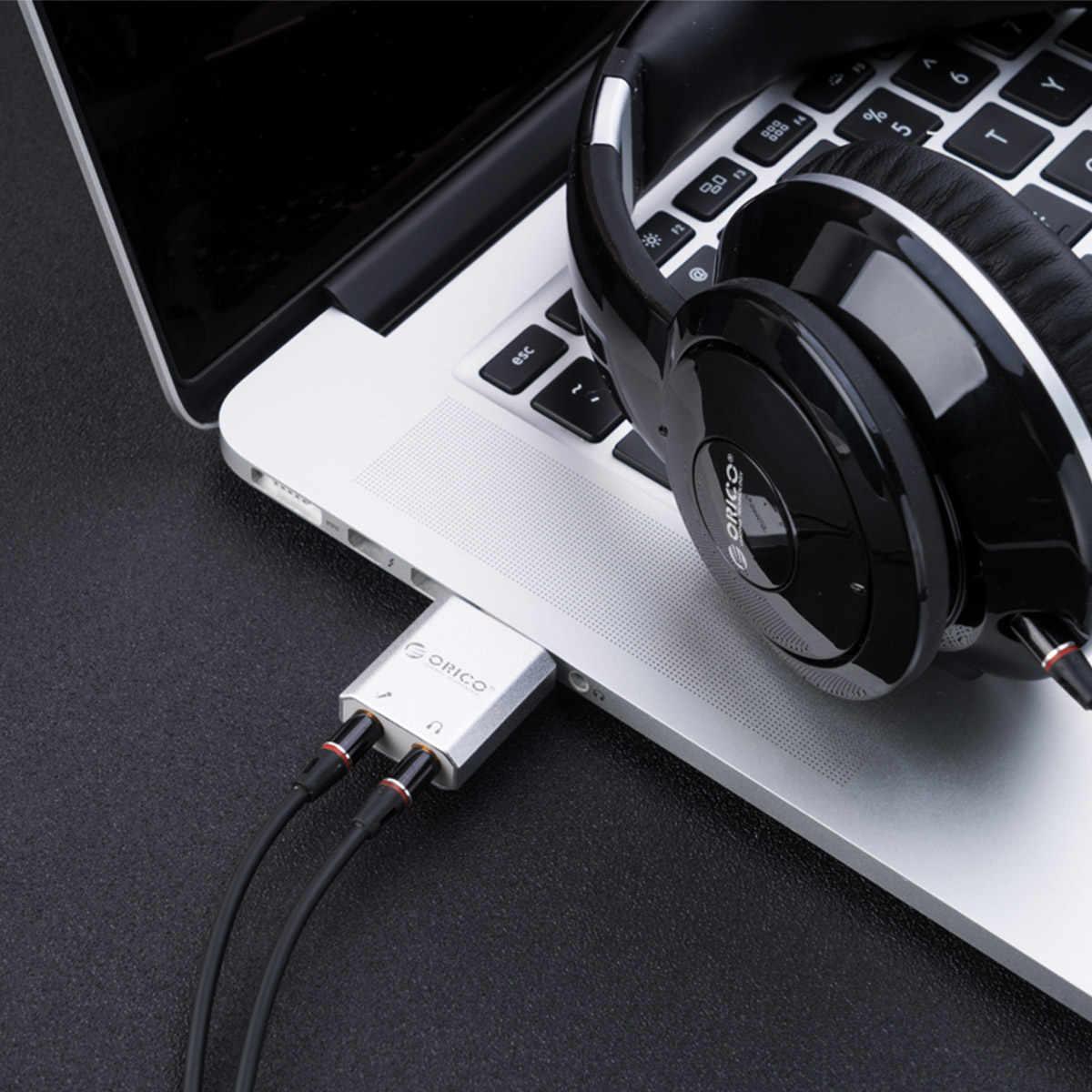 ORICO Внешний USB звуковая карта стерео микрофон динамики гарнитуры аудио Jack 3,5 мм кабель адаптер Mute переключатель регулировки громкости Бесплатная Drive