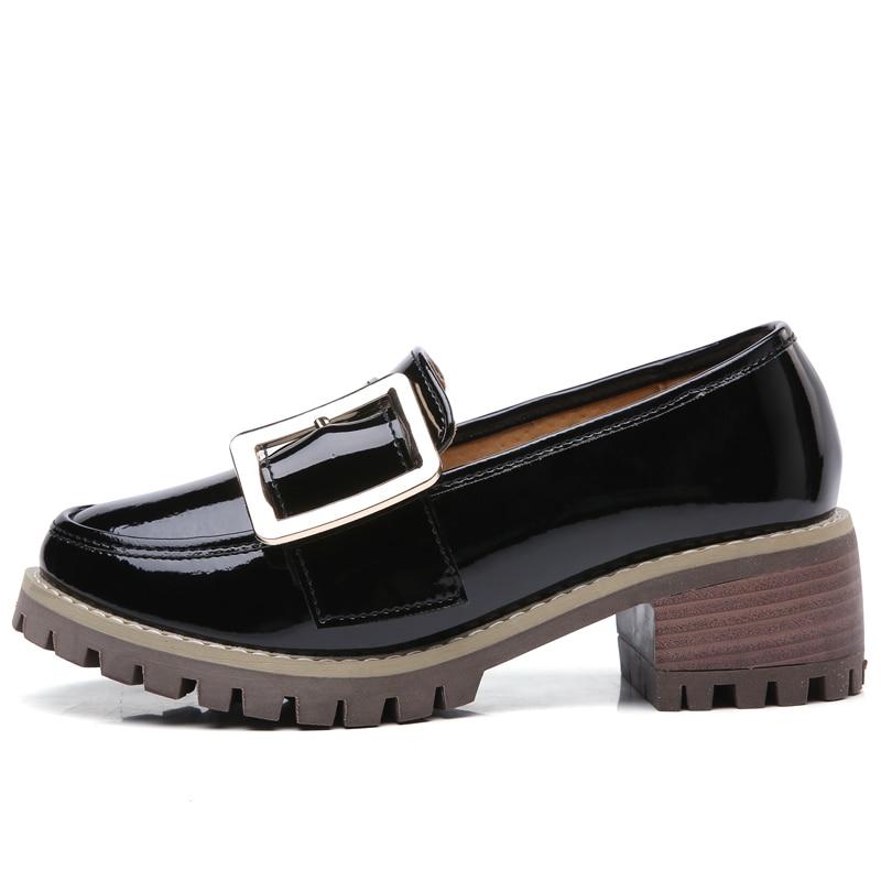 Pointu Cuir Bateau En Chaussures Bout on Femmes Carré Pompes Verni 2018 Beige Casual black Foxondo Automne Travail Slip Richelieus Talon wn6qxBXaYC
