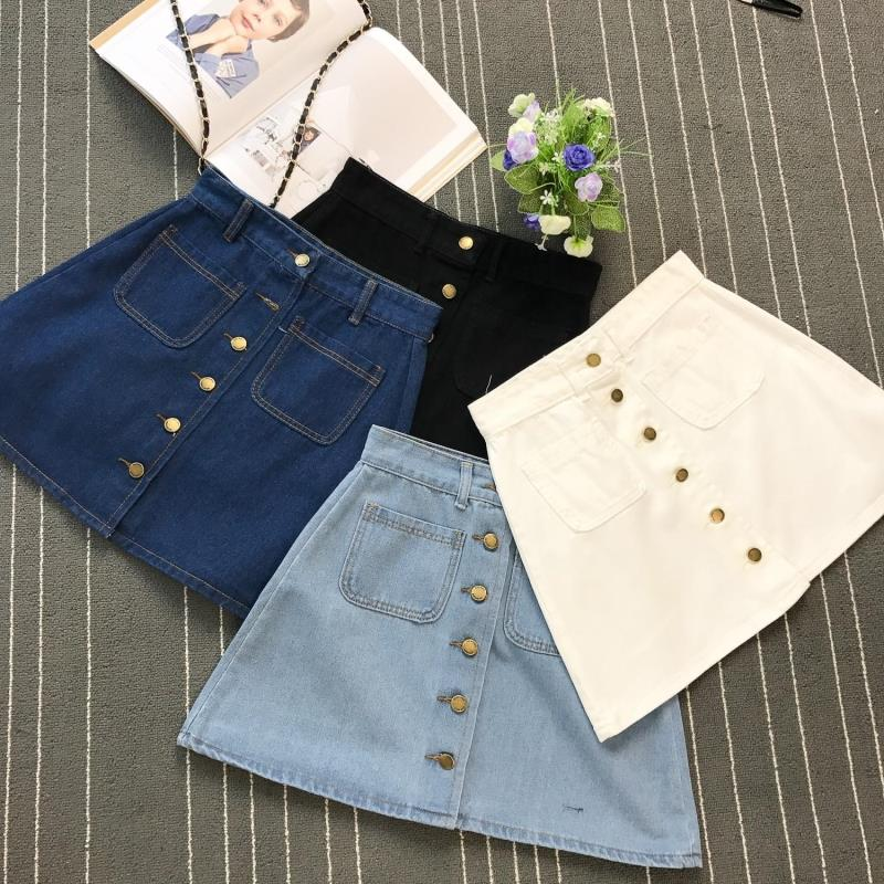 On sale 2019 summer Womens ladies A-line Jeans short Skirt Button High Waist Denim pockets Skirt harajuku mini high quality jean