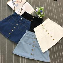 On sale 2019 summer Womens ladies A-line Jeans short Skirt Button High Waist Denim pockets Skirt harajuku mini high quality jean(China)
