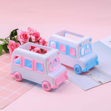 Car Plastic Car Model Baby House Game Toy Mini Bus Plastic Model House Game Toy Doll Car Baby Toy(China)