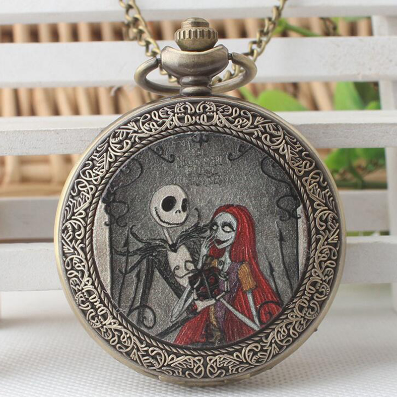 Fashion European American style new The Nightmare Before Christmas quartz pocket watch classic animation the Christmas gift european and american movies aladdin and the magic lamp quartz pocket watch do the old flip quartz watch chain table ds274