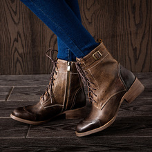 Leather winter women boots square toe lace up ankle boots 2017 timber boots ankle boots for women