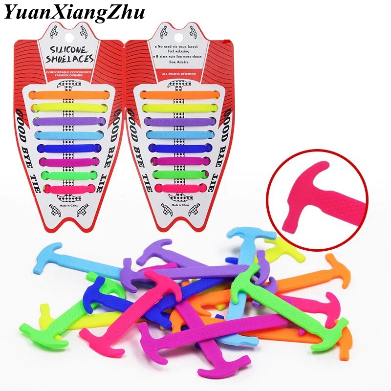 16pcs/lot Elastic Silicone Shoelaces Sneakers Shoelace No Tie Shoes Lace For Men Women Lacing Shoes Rubber Shoelace