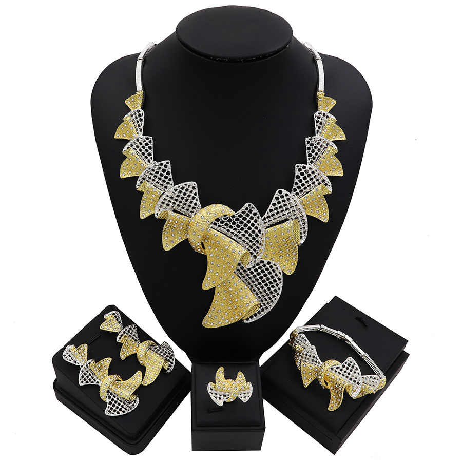 TSROUND Luxury Leaf Shape CZ Jewelry Set Two Tones African Wedding Bridal For Women