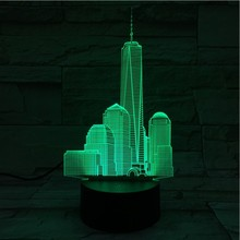 Usb 3d Led Night Light World Trade Center Atmosphere Lamp Decoration RGB Kids Baby Gift Famous Buildings Table Lamp Bedside neon india taj mahal usb 3d led night light veilleuse lamp decoration rgb kids baby gift famous buildings table lamp bedside neon