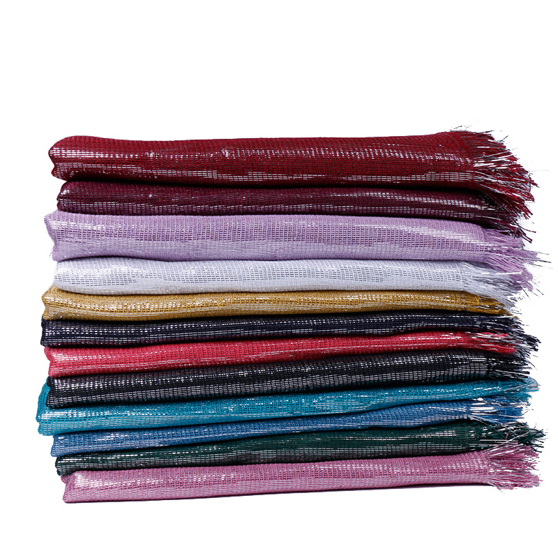 lurex cotton   scarf   glitter hijab shimmer   scarves   Lady gorgeous shawl muslim hijb solid color head   scarf   soft   wrap   180*60cm