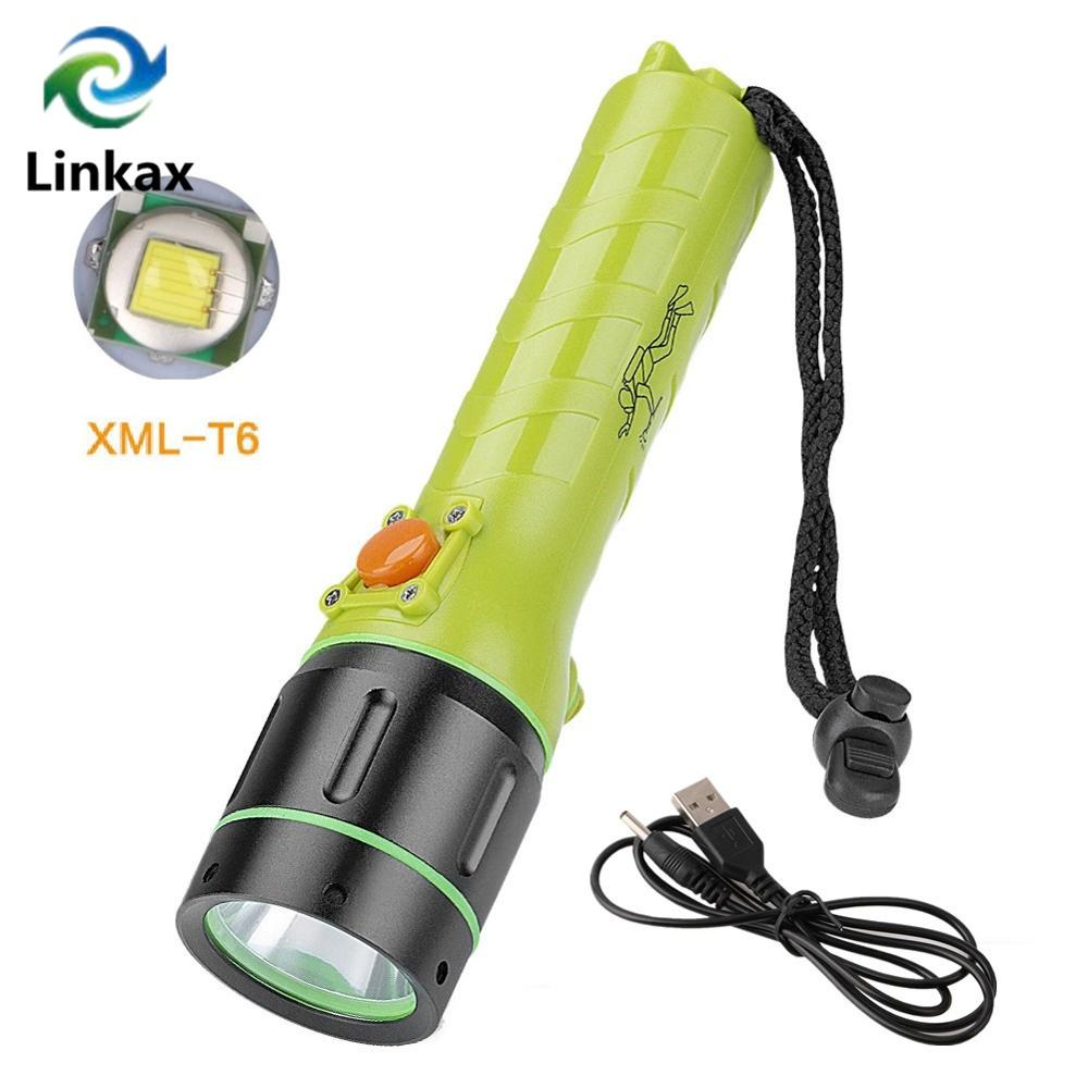 Professional Scuba Diving Flashlight Cree XML-T6 3800LM LED Underwater Searchlight Rechargeable Built in Battery Diving Torch