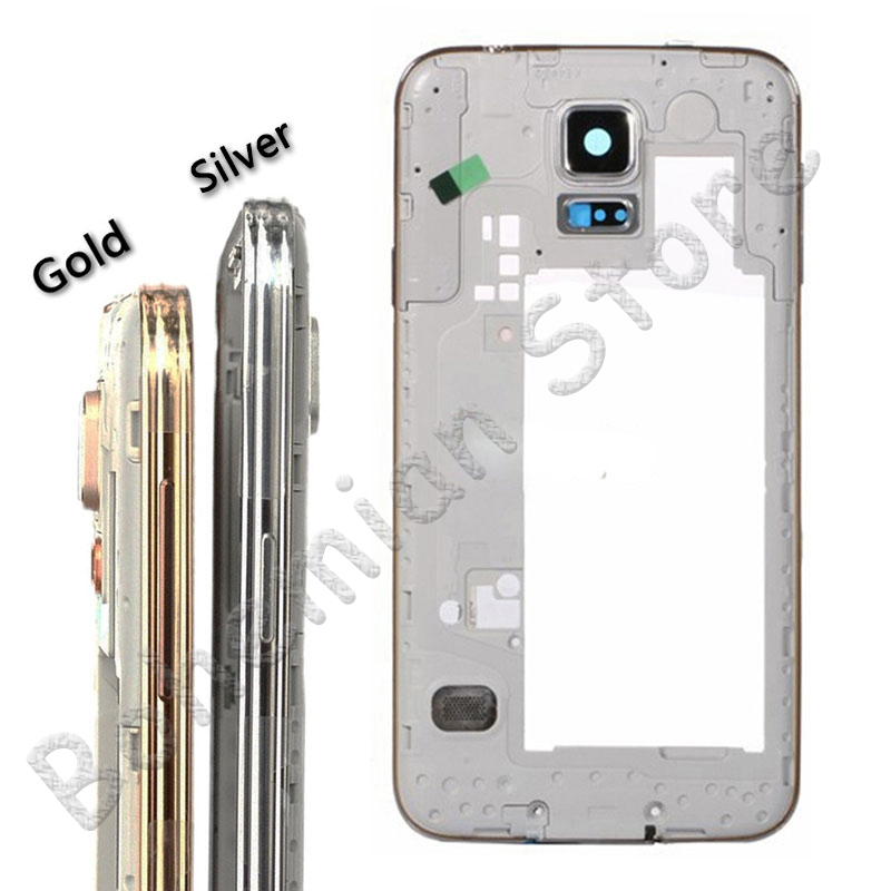 For <font><b>Samsung</b></font> <font><b>Galaxy</b></font> <font><b>S5</b></font> G900h <font><b>G900f</b></font> Middle Bezel Plate Front Frame Housing Cover with Camera Glass Gold Silver buttons image