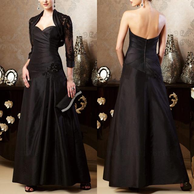 Querida apliques mãe das noivas vestidos para casamentos tafetá preto mãe de vestidos de noiva com jaqueta