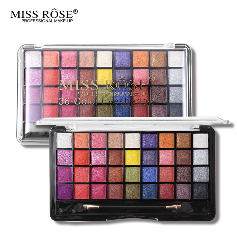 Miss Rose Eye Makeup Palette 36 Color Matte Shimmer Eyeshadow Set Smoky Make Up Bright Eye Shadow Nude Cosmetic Kits with Brush