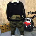 Boys camouflage set Long sleeved patchwork casual zipper Pullover sweater + camouflage pants pocket trousers 2Pcs Spring suit