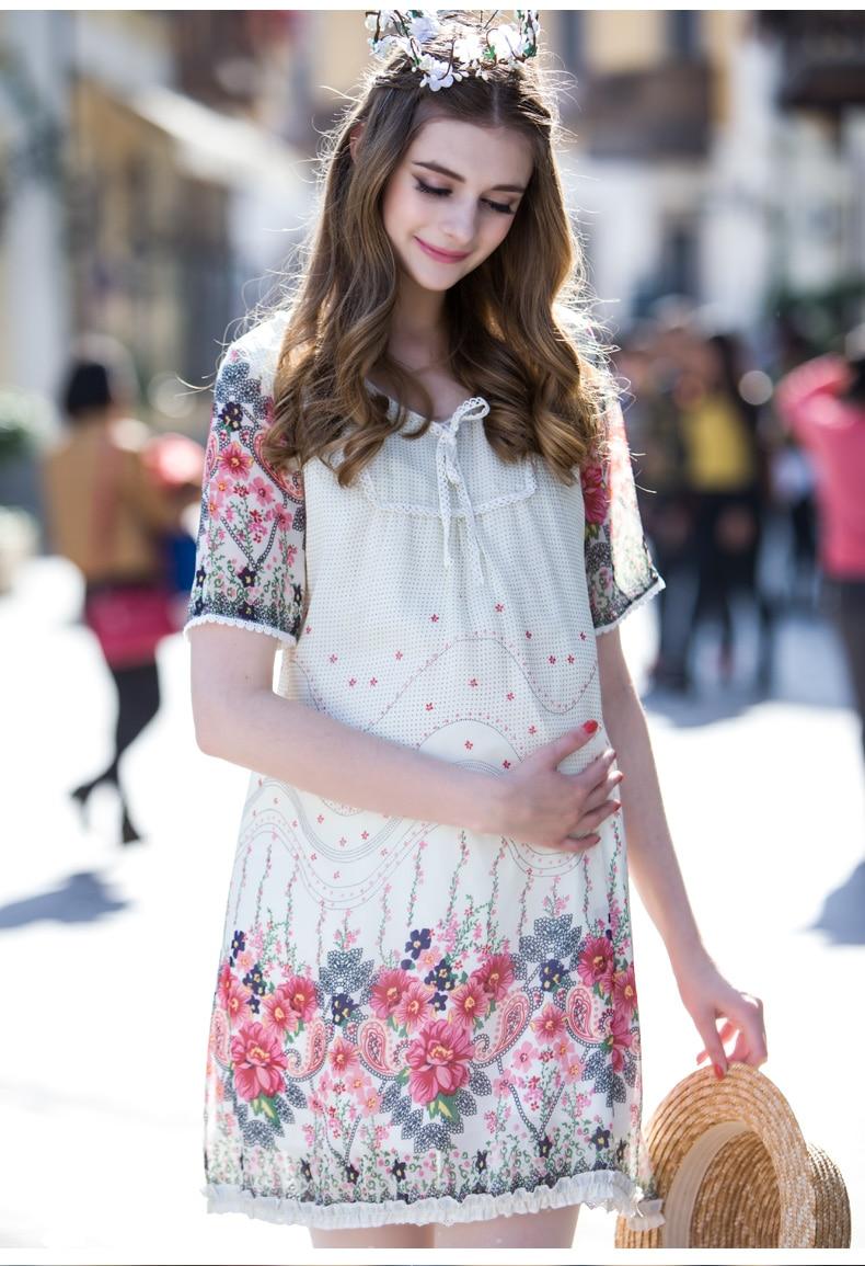 7453a46c2e47b صيف جديد فساتين المرأة الحامل الأمومة الملابس ملابس امرأة الأزياء الشيفون  قميص بأكمام قصيرة اللباس