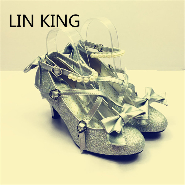 LIN KING Fashion Spring/Autumn Women Thin Heels Bowtie Pumps Solid Gold Pearls Bling Shoes Sexy PU Leather Cosplay Lolita Shoes