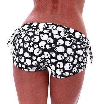Women skull print Regular Side Tie shorts