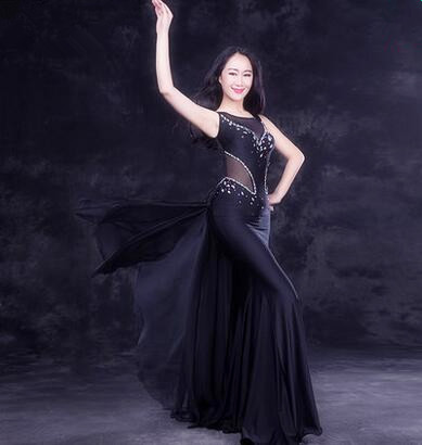 2dd82a5cecb New Luxury One Piece Oriental Dance Costume Indian Dance Performance Black  Dress Bling Bling Crystal Decorated Free Shipping