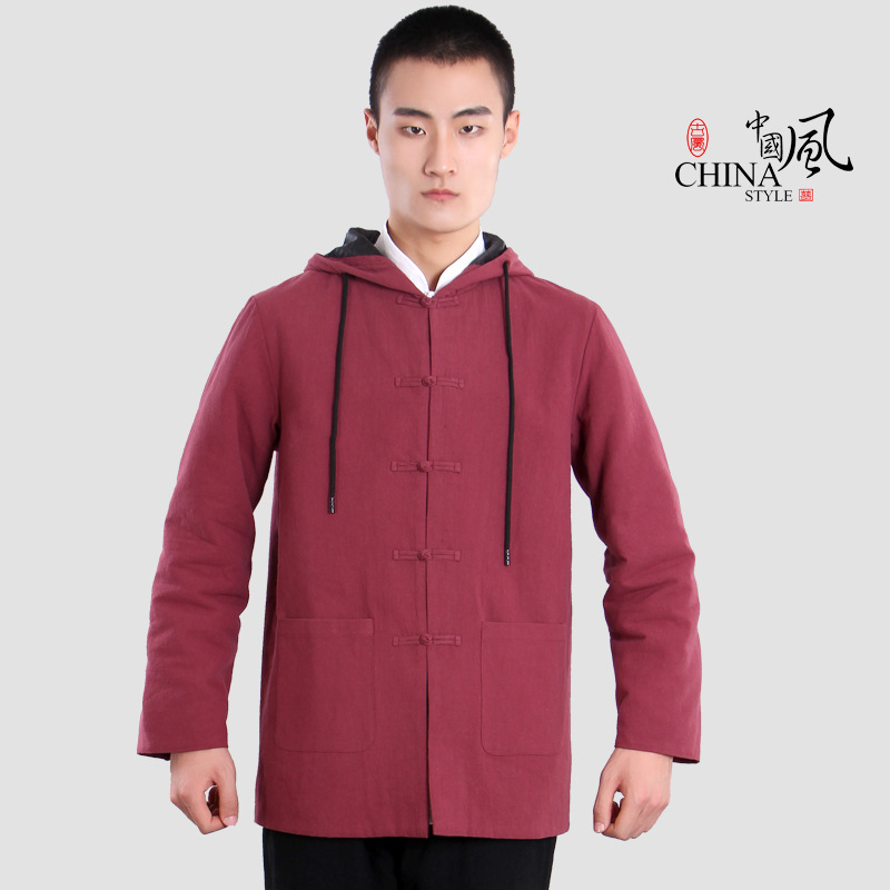 Lay Suits Chinese Wind Outfit Hanfu Button Hooded Cotton Trousers 6223 Cotton Cloth Male Meditation Zestawy Sztuk Walki