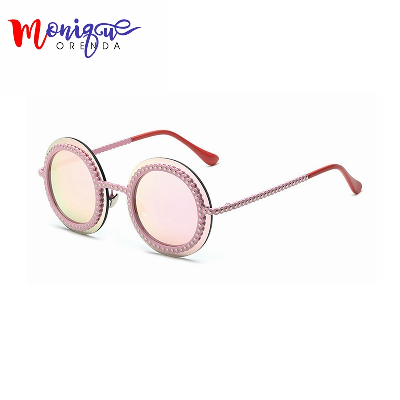 High Quality Fashion women sungalsses metal imitation gear Vintage Sunglasses Measly Sunglasses Cool Ladies Round Eye Ware