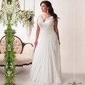 Chiffon V Neck Wedding Dresses A Line Lace Applique Cap Sleeve Court Train robe de mariee princesse avec manche Plus Size 2016