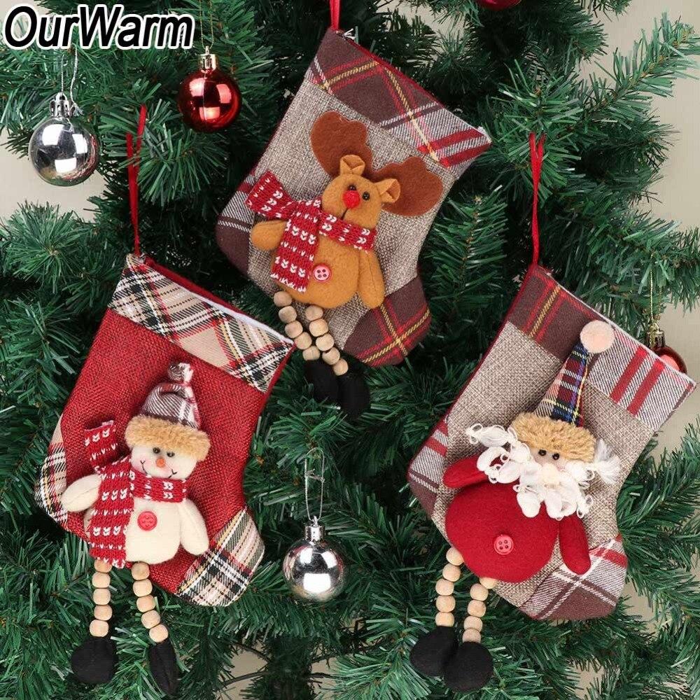 aabf711d14c4 ... Decor Holiday Festive Wine  OurWarm Christmas Tree Ornament Chimney  Santa Claus Plaid Socks Christmas Stocking Gift Xmas Tree Hanging New ...