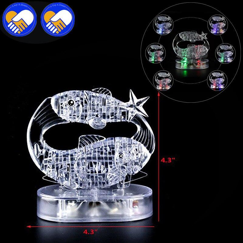 Игрушка мечта 3D Crystal Puzzle мигающий светодиод двенадцать созвездий гороскоп/рыбы головоломки DIY игрушка образования игрушки