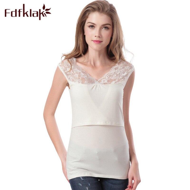 Fdfklak 2018 New Nursing Clothes Summer Modal Sleeveless Maternity Vest Nursing Top Black/White Breastfeeding Clothes F175