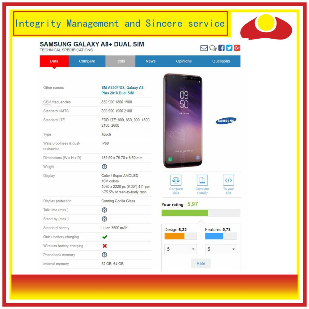 Image 3 - 10Pcs/lot DHL For Samsung Galaxy A8 Plus 2018 A730 A8+ LCD Display With Touch Screen Digitizer Panel Monitor Assembly Complete-in Mobile Phone LCD Screens from Cellphones & Telecommunications