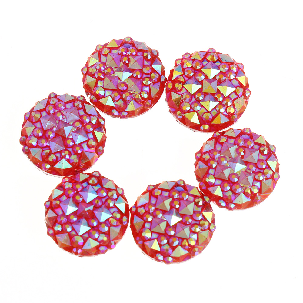 120PCS 12mm AB Resin round Flatback rhinestone Embellishment crafts buttons DIY