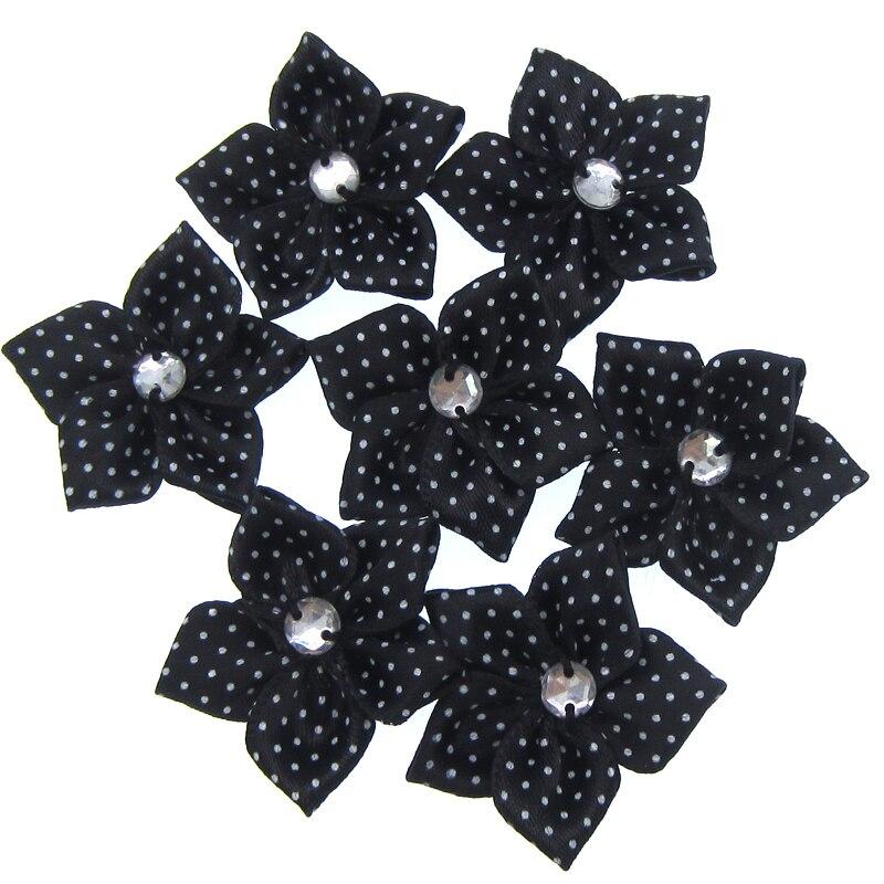 0918c14a3ec2e 30 قطع اليدوية الساتان الأسود نقطة الشريط زهرة الاكريليك حجر الراين نسيج  الزهور زين كرافت الزفاف ديكورات 3.5 سنتيمتر