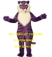 Professional Custom Anime Cosply Costumes Purple Tiger Mascot Costume wholesale Cartoon Wild Cat Theme Carnival Fancy Dress 1867