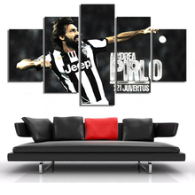 Football Star Pirlo Posters Print 5 Pieces Canvas Sports Stars Paintings Boys Wall Art Home Decor Frame